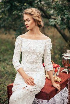 """Купить Платье """"Полли"""" - белый, платье, платье вязаное, платье спицами, платье в пол"""