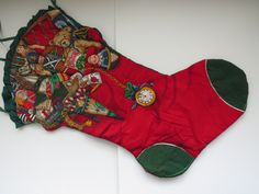 Extra Large Quilted Christmas Stocking - Night Before Christmas - Vintage Stocking - Quilted Lined Fabric Stocking - Fireplace Mantel Decor by shabbyshopgirls on Etsy