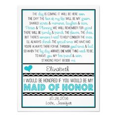 Will You Be My Maid Of Honor Turquoise Black Poem Custom Invitations