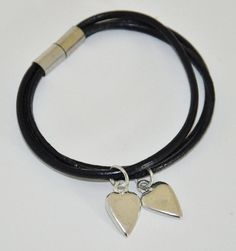 Twin Hearts Leather Bracelet - perfect for Mother of Twins Triplets, Twins, Two Hearts, Strand Bracelet, Pewter, Robin, Personalized Gifts, Mothers, Unique Gifts