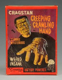 """Outer sales box (with alternate and quickly revised """"It Will Kill You"""" slogan at bottom right corner) for the """"Creeping Crawling Hand"""" battery operated toy by Cragstan, 1963."""