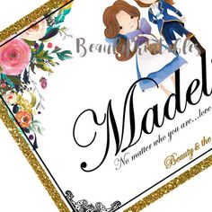 Custom Name Print Beauty and the Beast Theme Monogram Name