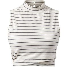 White Stripe High Neck Wrap Hem Crop Top ($3.67) ❤ liked on Polyvore featuring tops, crop tops, shirts, crop, white crop top, wrap crop top, white shirt, white sleeveless shirt and slim fit shirts