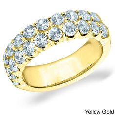 Amore 14k White or Yellow Gold 2ct TDW Double Row Diamond Ring (H-I, I1-I2) (Yellow Gold - 10), Women's