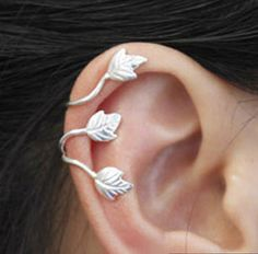 925 Sterling Silver Plant Creeper Cartilage Ear Cuff Wrap Clip On Earring