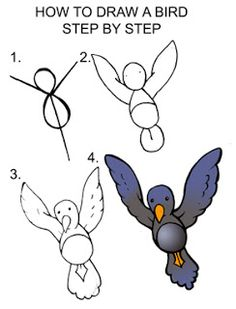 Daryl Hobson Artwork: How To Draw A Bird Step By Step