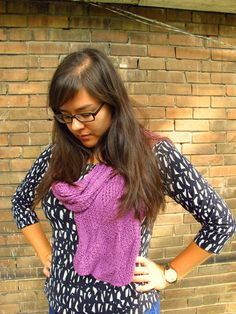 DIY: Knitted Purple Silk Bambo Scarf, Kiku Corner