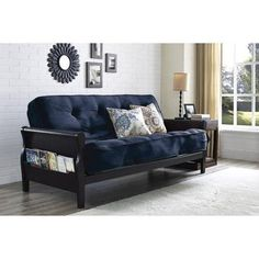 Home Decorators Collection | Better Homes and Gardens Wood Arm Futon with Coil Mattress Navy Linen * Learn more by visiting the image link.(It is Amazon affiliate link) #commentback