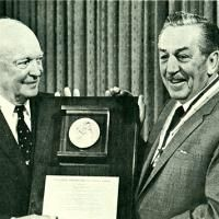 Presentation of Freedoms Foundations coveted George Washington award is made to Walt Disney in Palm Springs by former President Dwight D. Eisenhower.