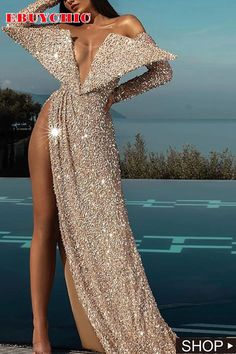 The side split makes this floor long dress sexy and elegant in the party and evening, and this sequin decorated dress has two wings in the upper part which form an angle shaping. #partydresslong #dressoutfitsparty #dressweddingguest #fall party outfit dresses #partydressnight #gowns #ebuychic