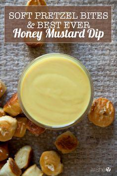 Soft Pretzel Bites with the BEST EVER Honey Mustard Dip | How Does She Pretzel Dip Recipes, Pretzels Recipe, Appetizer Recipes, Snack Recipes, Cooking Recipes, Yummy Recipes, Cooking Tips, Catering Recipes, Yummy Appetizers
