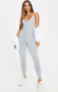 Grey Marl Basic Strappy Plunge Jumpsuit | PrettyLittleThing Loungewear Set, Basic Grey, Jumpsuits For Women, Mannequin, Lounge Wear, Fashion Outfits, How To Wear, Fit Team, Clothes