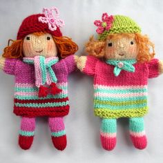 Ruby and Rose hand puppet doll knitting pattern by dollytime, $4.99