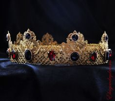 GOLD Red Blood Crown Male Crown For Royal by Elviejewelrydreams
