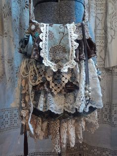 Handmade Cross Body Bag Vintage Lace Victorian Style Gypsy Boho Purse tmyers #Handmade #MessengerCrossBody