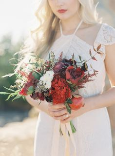 Rich Red Bouquet by FleurDeRye.com | Photography:  TheGreatRomancePhoto.com   See More on SMP: http://www.stylemepretty.com/california-weddings/2015/03/26/romantic-santa-barbara-bridal-shoot/