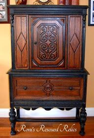Spectacular Wood and Black Paint Combo - Dining Room Set - Buffet and China Hutch by Roni's Rescued Relics - Featured On Furniture Flippin'