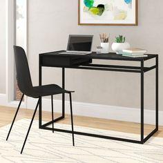 Black Office Furniture, Large Desk, Desk And Chair Set, Metal Desks, Bedroom Desk, Black Desk, Hard Floor, Writing Desk, New Room