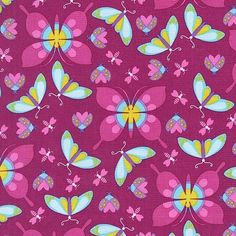 Michael Miller Birds and the Bees Collection, All the Wee Beasts (Magenta), 100% cotton