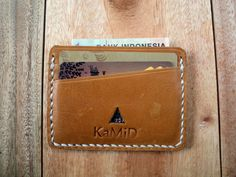 FREE Engraving Handmade Leather Credit Card Holder by byAsros