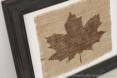 How to make this painted leaf burlap art @ Domestically Speaking Burlap Art, Burlap Crafts, Decor Crafts, Painted Burlap, Painted Wood, Painted Furniture, Furniture Design, Fall Arts And Crafts, Burlap Projects