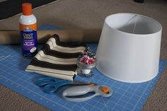 How to make a fabric covered lampshade tutorial. Nestcandy.com Will do this for dorm room.