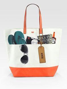 Anya Hindmarch  Canvas Beach Tote Bag
