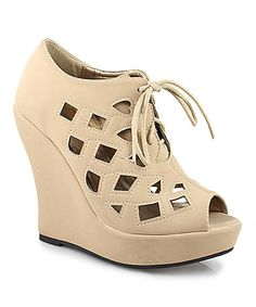 Look what I found on #zulily! Taupe Erika Peep-Toe Wedge Pump #zulilyfinds