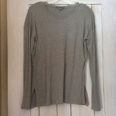 VINCE tee shirt XS A long sleeve Pima cotton tee shirt has a faltering drape with an easy fit with side hem vents. It is a grey/beige color with a very soft feel. Vince Other