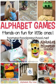 These hands-on alphabet games for preschoolers are perfect for teaching letter recognition, ABC order, and beginning sounds. Learning Letters for Toddlers Alphabet Activities, Toddler Activities, Preschool Activities, Preschool Readiness, Educational Games For Preschoolers, Nanny Activities, Literacy Games, Abc Games, Kindergarten Centers