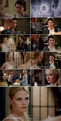 """She wants it to be just the three of us."" Elsa, ""Her perfect family."" Emma, Belle and Hook - 4 * 6 ""Family Business."""