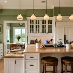 White Kitchen Cabinets Green Walls Design, Pictures, Remodel, Decor and Ideas