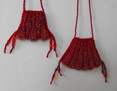Ruby Red Knit Beaded Amulet, Knit Scarlet Bead Bag, Beaded Pouch, Knit Necklace, Beaded Necklace Pendant, Knit Jewelry, Seed Bead Jewelry