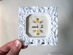 Suck it cross stitch -- small framed cross stitch gift with ironically welcoming, deliciously flavored pineapple or with flower motif