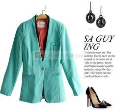 FW Style Chic Green V-neckline One Button Blazer Outerwear