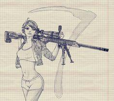 SniperGirl by Batuev.deviantart.com on @DeviantArt #Girl, #Gun, #PinUp, #Sniper