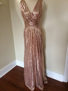 Custom made 'Rosie' sequin v neck sleeveless backless metallic sparkle bridesmaids dress vintage style wedding party by TheodoraJames on Etsy https://www.etsy.com/listing/234510333/custom-made-rosie-sequin-v-neck