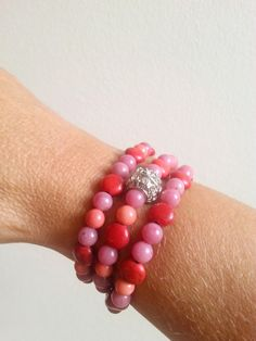 Coral red bracelet or necklace coral gemstone by WalinaWebshop