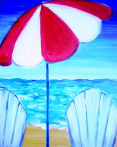 """Sand and Stripes"" - Whether or not you plan on going to the beach this summer, Sand and Stripes will capture the mood!  Under the umbrella is where you relax after a swim or where you watch your kids splash in the waves, or sip a margarita and watch the sun go down.  This painting will remind of relaxation in your beach house, or just your house!"