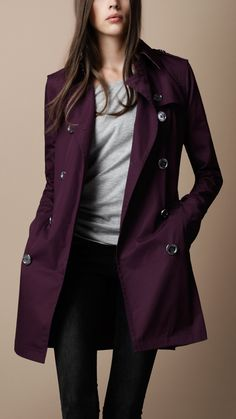 Burberry Washed Cotton Trench Coat in Plum