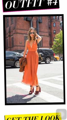 Orange dress with heels for a day out.