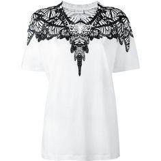 Marcelo Burlon County Of Milan patterned collar T-shirt featuring polyvore, women's fashion, clothing, tops, t-shirts, white, short sleeve tops, graphic tops, white graphic tees, white top and graphic design tees