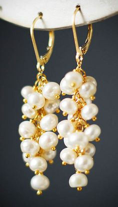 Freshwater pearl Cascade Earrings wedding