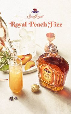 It's never too early to get into summer mood. Try a Crown Royal Peach Fizz - Peach back for a limited time. 🍑 🍑 🍑 Royal Peach Fizz: Add Crown Royal Peach and oz. Top with 4 oz. champagne and garnish with mint Party Drinks, Cocktail Drinks, Fun Drinks, Alcoholic Drinks, Cocktails, Bourbon Drinks, Beverages, Peach Drinks, Summer Drinks