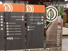Using directional signage in your church helps new guests know where to find everything they need to have a great first experience. And these economy banners set up in seconds! Church Lobby, Directional Signage, Portable Display, Retractable Banner, Church Banners, Banner Stands, Church Activities, Youth Ministry, Bunting