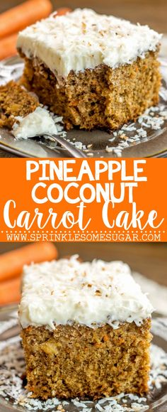 Pineapple Coconut Carrot Cake - This perfectly moist carrot cake is chock full of carrots, pineapple and coconut. Topped with hefty layer of my favorite coconut cream cheese frosting!