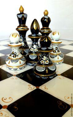 Купить Шахматы подарочные расписные Симфония - чёрно-белый, настольные игры, дорогой подарок