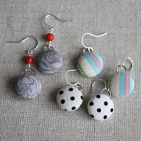 Amy Cornwell Designs: Tuesday Tutorial: Dangle Fabric-Covered Button Earrings