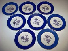 Up for sale are these Carlsbad Finest China Czechoslovakia Gloria rucni Prace Set Of Eight Plates. No chips or cracks. In very Good Condition. They measure approx. 7 5/8 inches wide. Six of the plates have the name rucni prace on them. Everything we offer at auctions is pre - owned &/or used. This item(s) may show some signs of wear commensurate with age & normal use. Shipping Excludes: Alaska/Hawaii, US Protectorates, APO/FPO, PO Box Shipping Provided to the United States Only