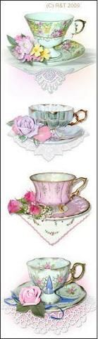 Set of 10 Quantity Bookmarks - Pink Teacups (Tea Cups) Perfect for Tea Party Favors